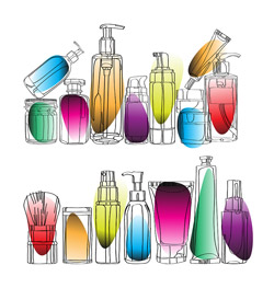 Colorful beauty bottles