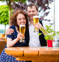 Couple drinking beer for beauty