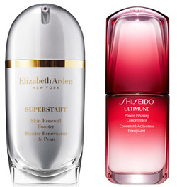 Arden's Superstart Skin Renewal Booster and Shiseido's Ultimune Power Infusing Concentrate