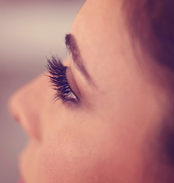 close up of woman's eyelashes