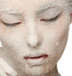frozen woman's face