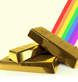 bars of gold at the end of a rainbow