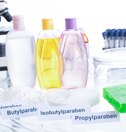 bottles in a science lab labeled with different parabens