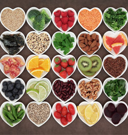 superfoods in heart-shaped bowls