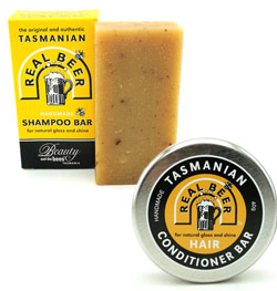 Tasmanian Real Beer shampoo and conditioner bars