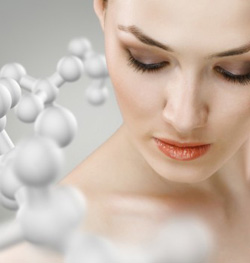 woman's face next to a chemical compound