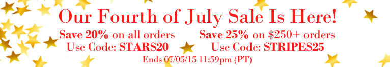 Take Up to 25% Off in Our Fourth of July Sale