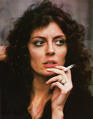 Susan Sarandon smoking a cigarette (or weed)