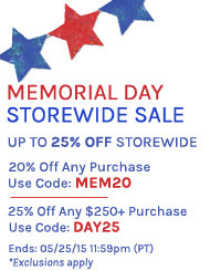 Start Memorial Day with Up to 25% Off