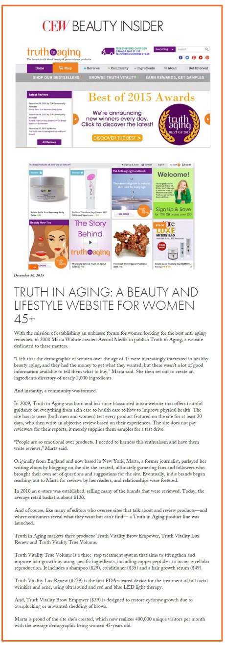 CEW beauty insider press clipping december 2015
